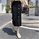 La Belleza鬆緊腰粗坑條大鐵釦下擺中間開叉針織裙顯瘦包臀窄裙