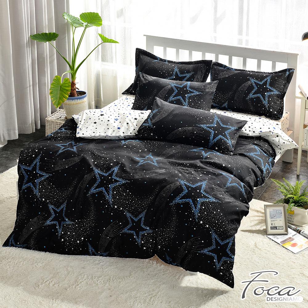 FOCA 黑色幽默  單人-北歐風活性印染100%雪絨棉三件式薄被套床包組