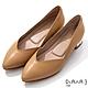 DIANA 3cm羊皮線條珍珠電鍍飾釦尖頭低跟鞋-優雅女伶-淺棕 product thumbnail 1