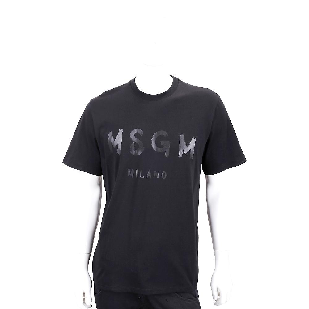 MSGM 油漆塗鴉字母黑色棉質短袖T恤(男款)