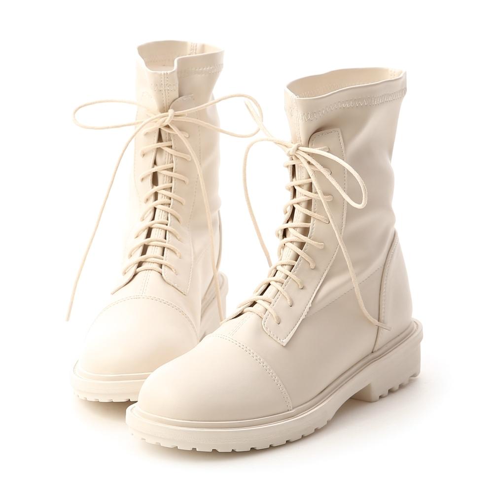 D+AF 率性首選.超軟皮革綁帶中筒靴*米白