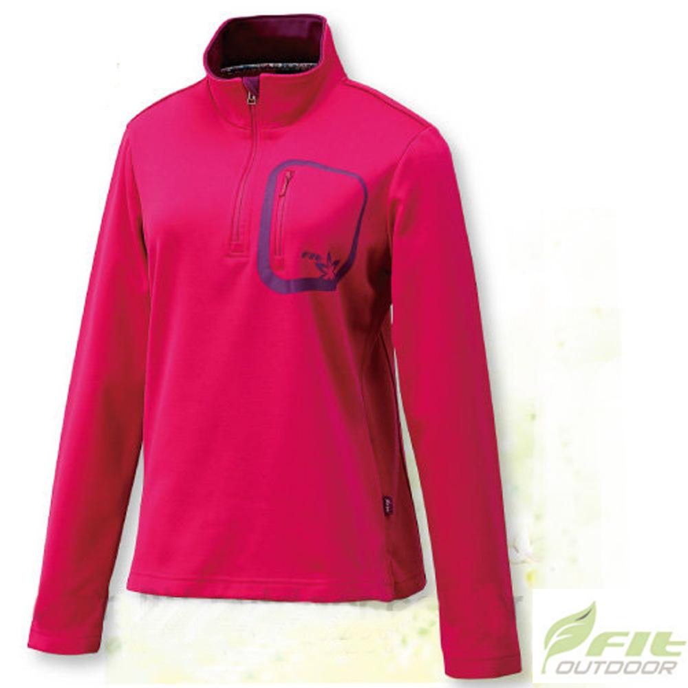 FIT 女款 內刷保暖立領拉鍊上衣_EW2102 玫瑰紅 W