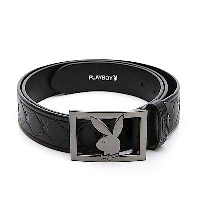 PLAYBOY- 鏤空兔頭 鋅合金帶頭皮帶-黑色