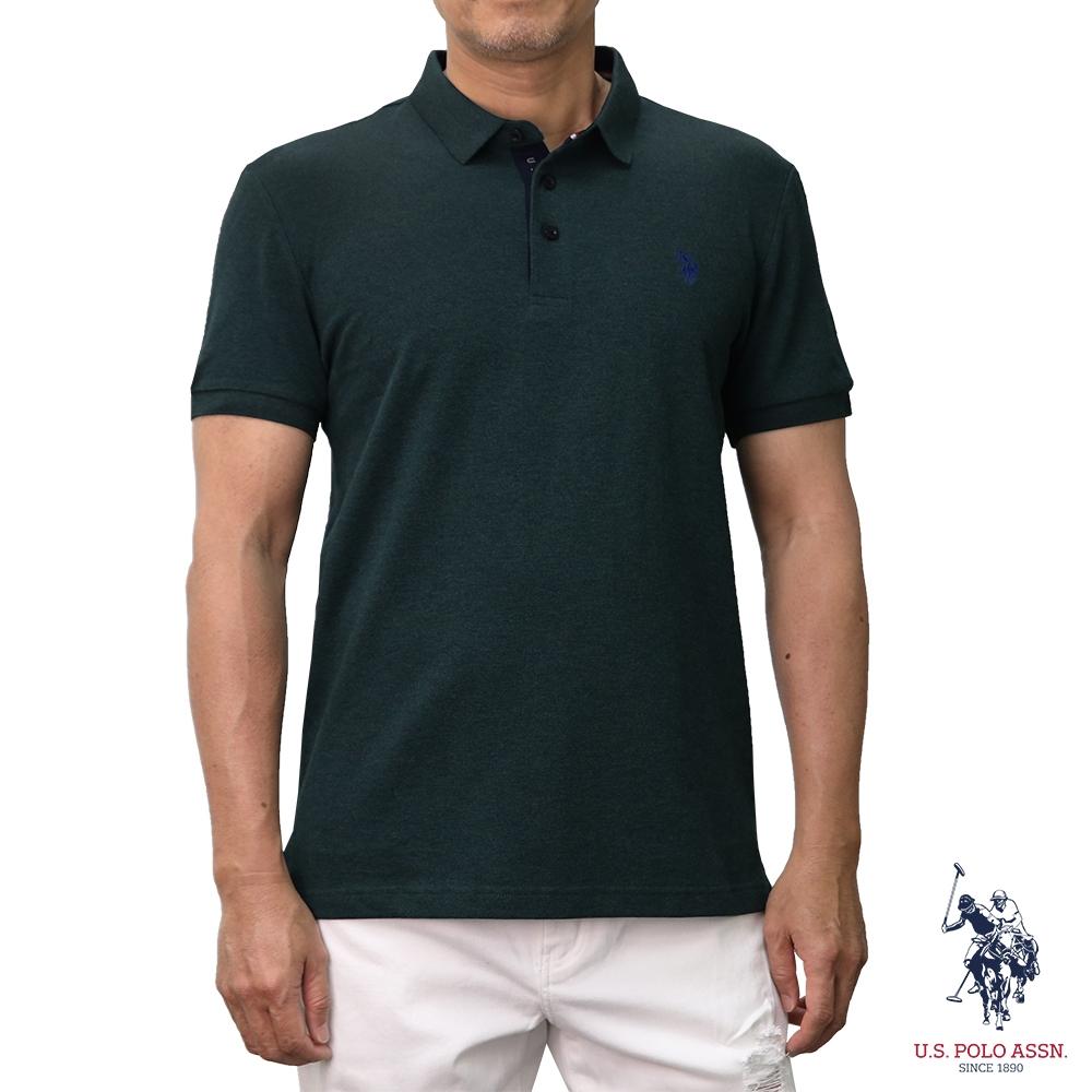 U.S. POLO ASSN. 美國馬球小馬花紗POLO衫-墨綠色