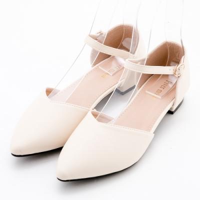 River&Moon法式簡約素面繞踝後包尖頭低跟鞋 米白