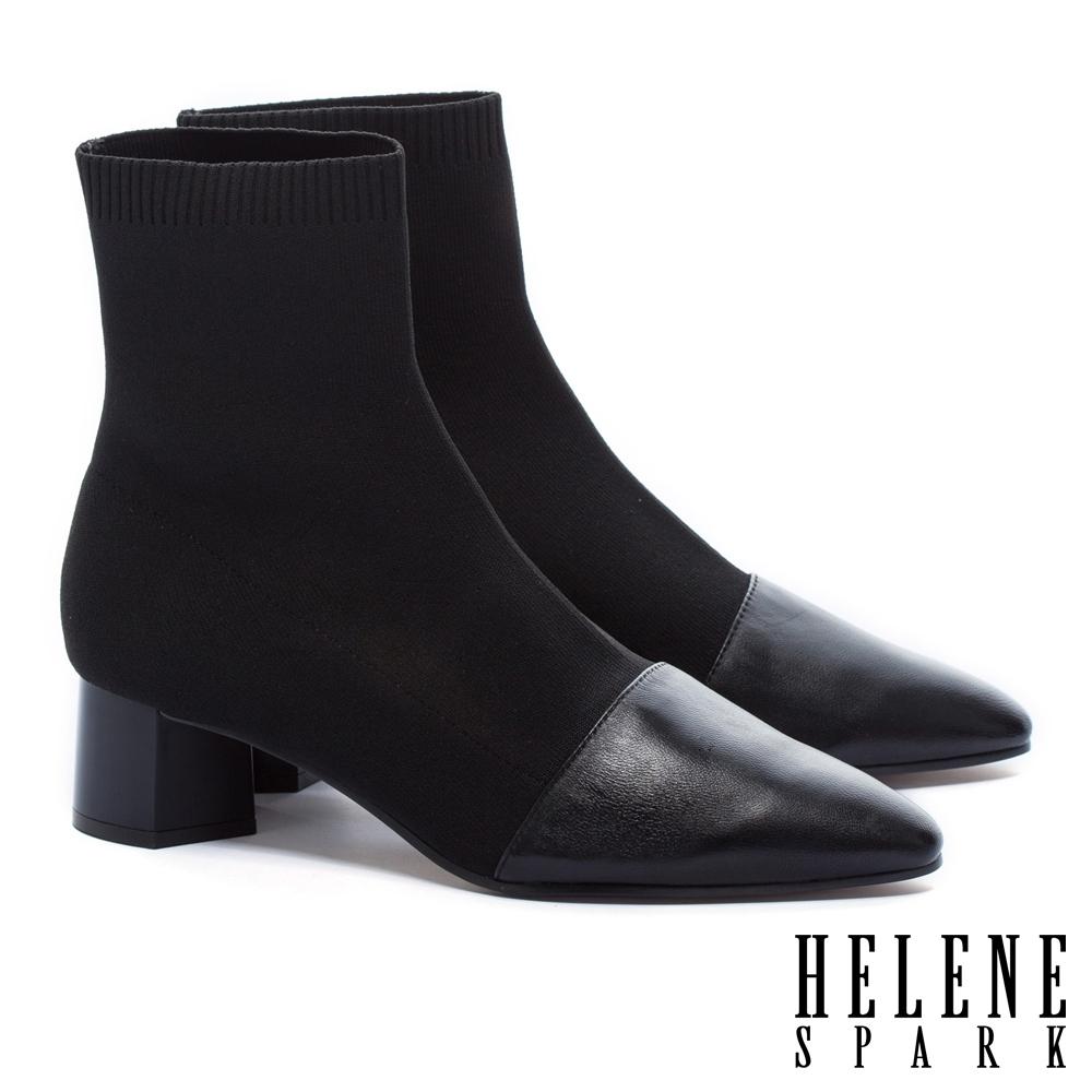 襪靴  HELENE SPARK 簡約摩登時尚異材質拼接羊皮高跟彈力襪靴-黑
