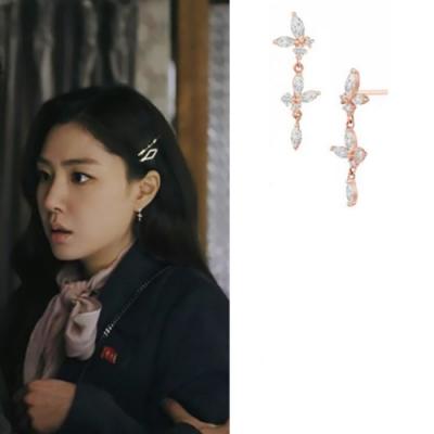 梨花HaNA 韓國925銀愛的迫降徐丹玫瑰金花瓣垂墜耳環