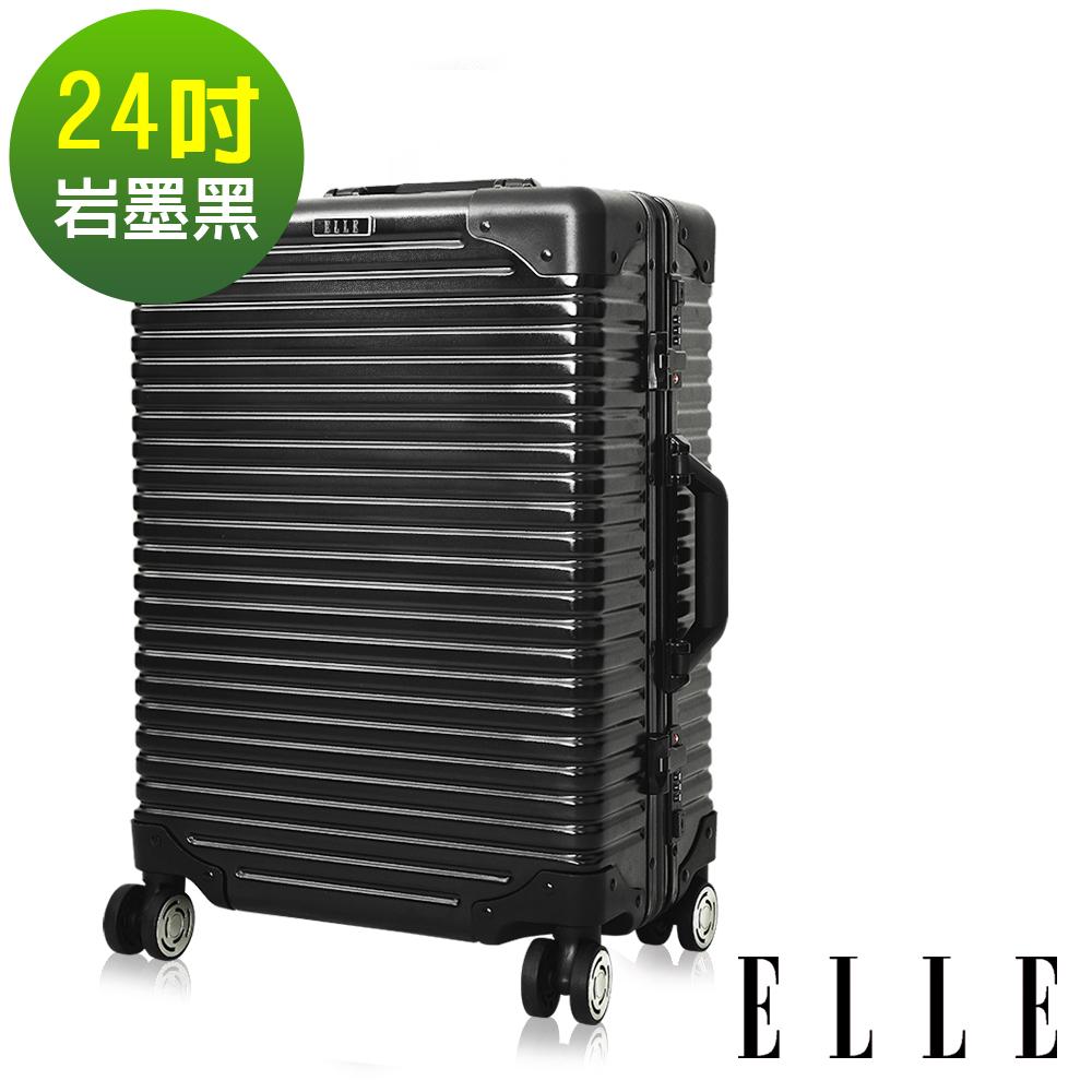 ELLE Brutus復古假期系列- 24吋裸鑽霧面純PC橫條紋鋁框行李箱-岩墨黑EL31198