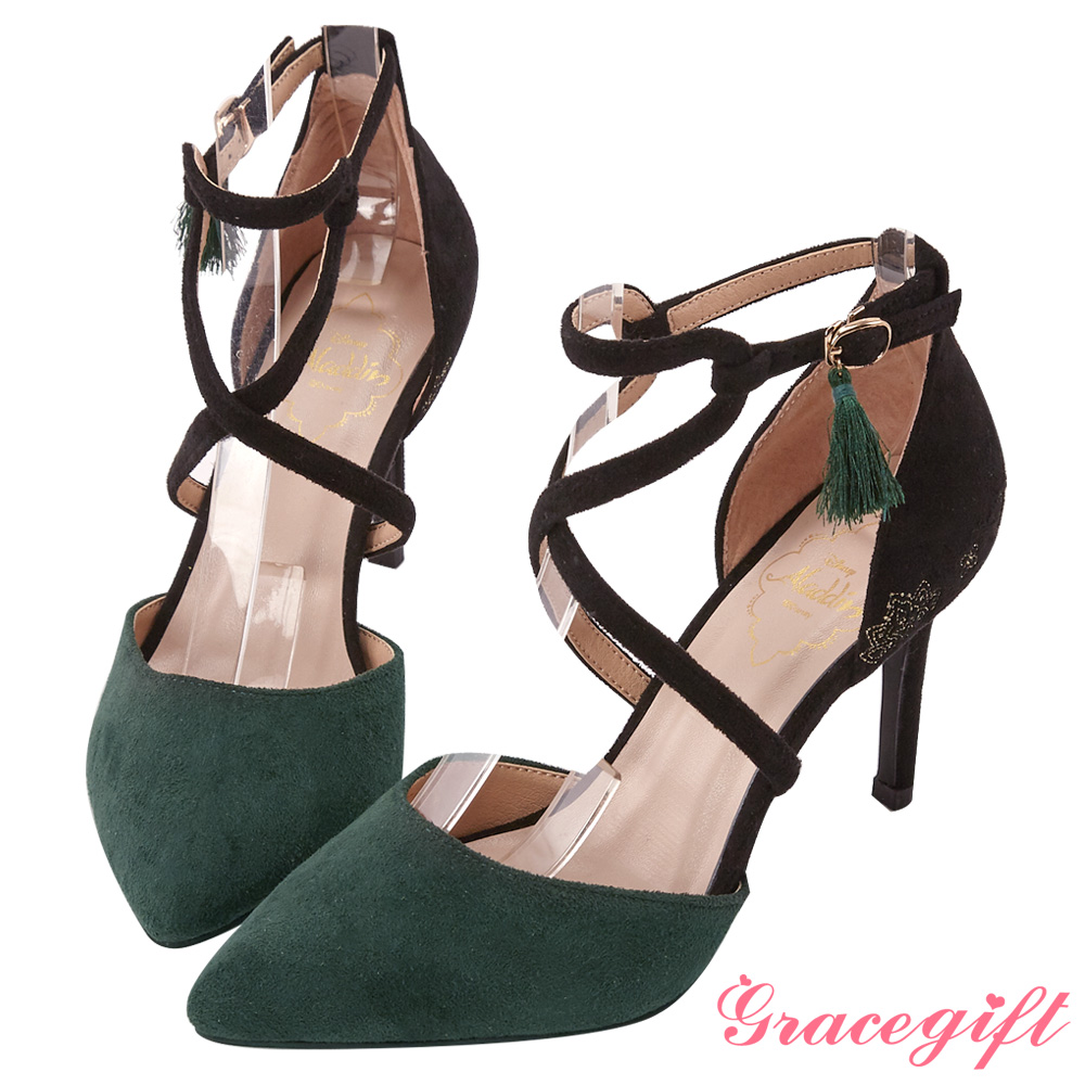 Disney collection by gracegift茉莉交叉踝帶尖頭跟鞋 綠