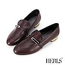 HERLS 摩登雅緻 內真皮方釦橫帶樂福鞋-紅棕色