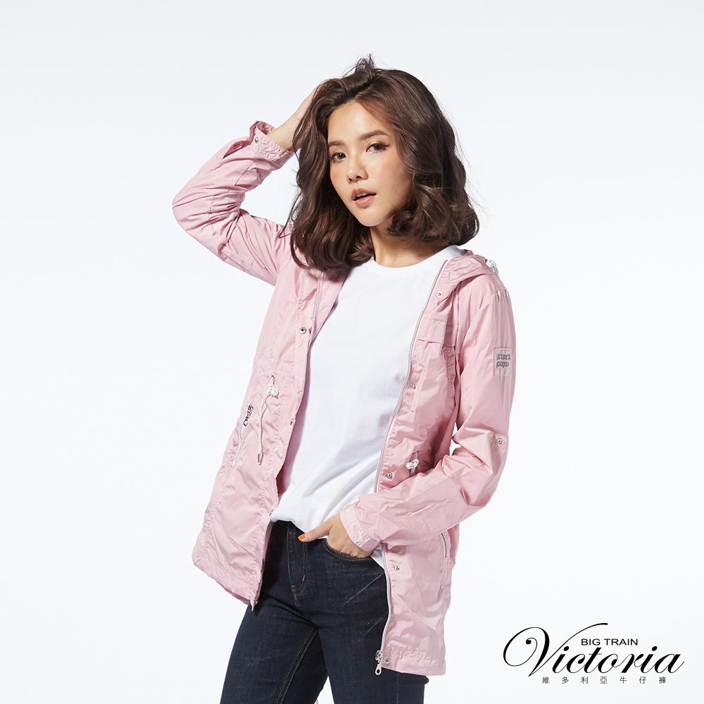 Victoria 抗UV長版防風外套-女-霧粉
