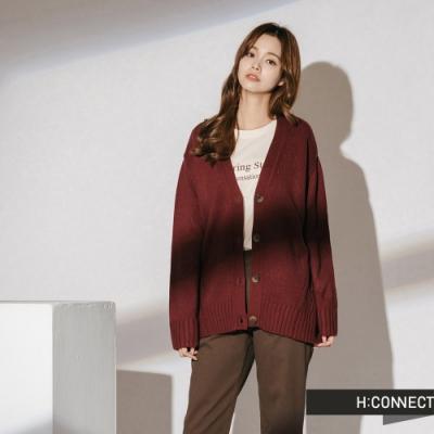 H:CONNECT 韓國品牌 女裝 - 細節特色針織外套  - 酒紅