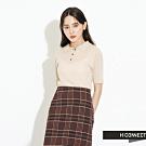 H:CONNECT 韓國品牌 女裝-素面針織POLO衫-卡其