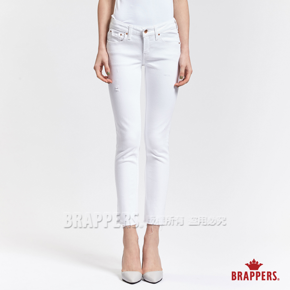 BRAPPERS 女款 AC-Cargo系列-高腰磨破褲口不收邊七分褲-白