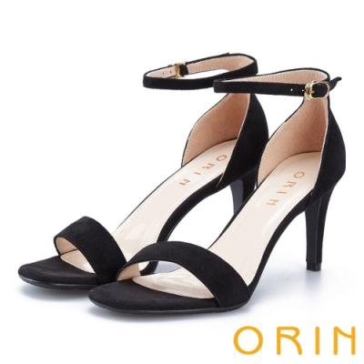 ORIN 摩登時尚 一字繫踝繞帶後包細高跟鞋-黑色
