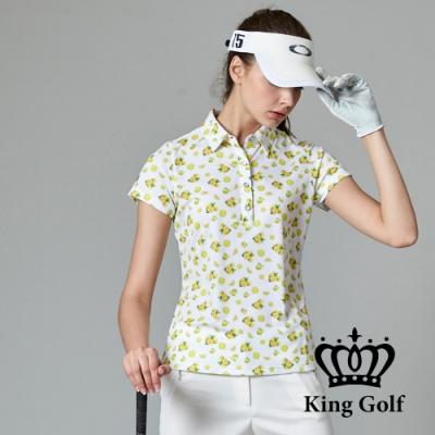 【SKY YARD 天空花園】KING GOLF暢夏果香印圖造型POLO衫-白色