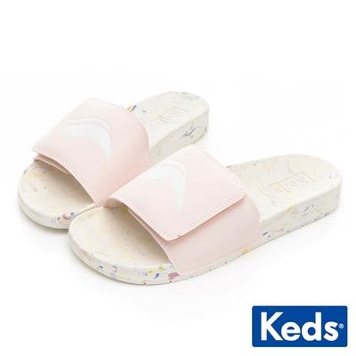 Keds BLISS V 經典Wave Logo輕量皮革拖鞋-粉紅