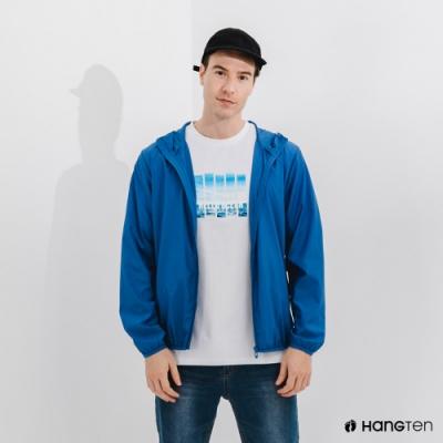 Hang Ten-中性款-恆溫多功能-防輕潑水自收防風外套-海軍藍