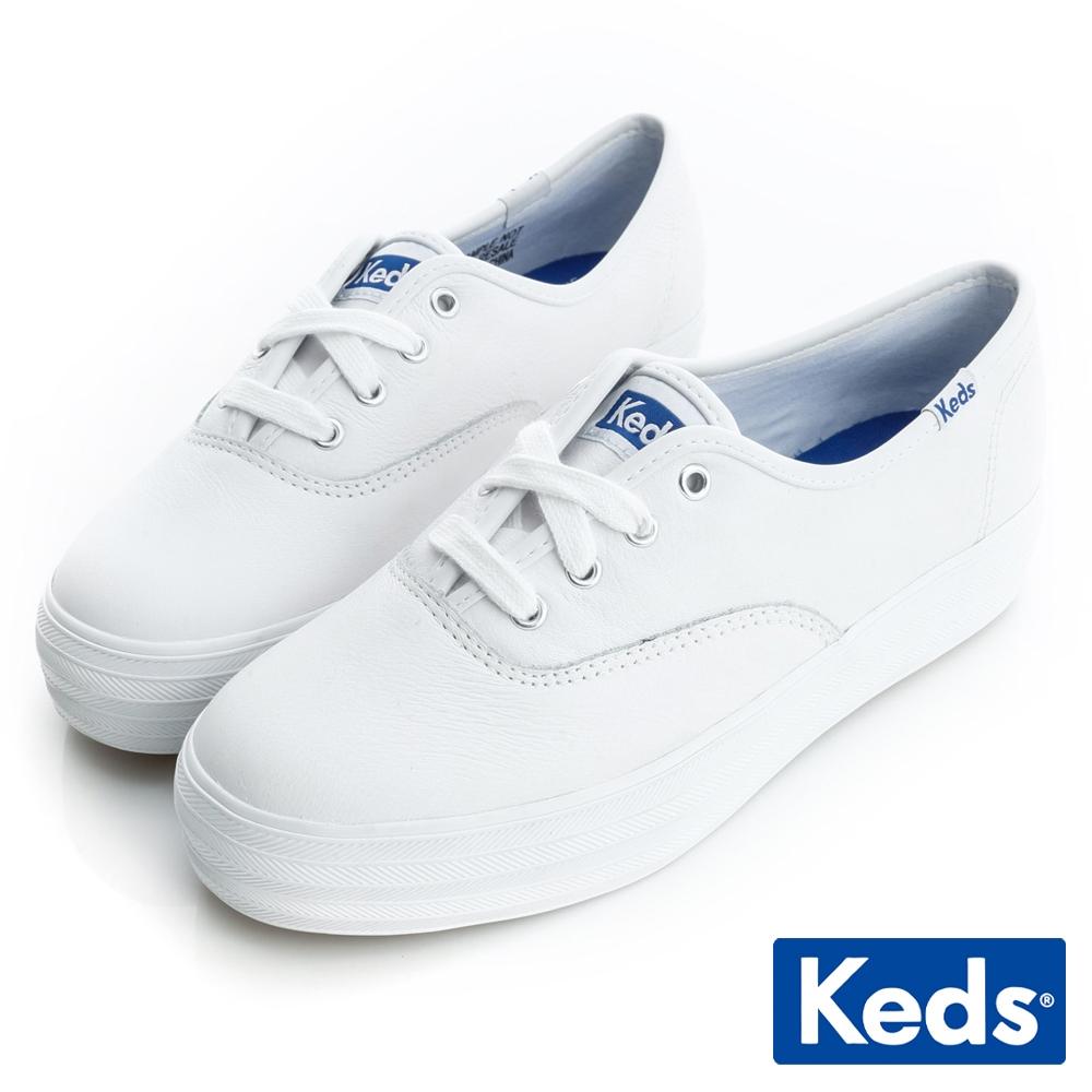 Keds 品牌經典厚底真皮綁帶休閒鞋-白