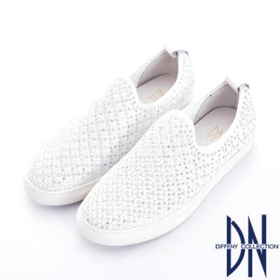 DN 輕盈悠遊 水鑽拼接透氣針織休閒鞋-白