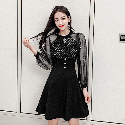 DABI 韓國風復古亮片禮服收腰顯瘦氣質長袖洋裝