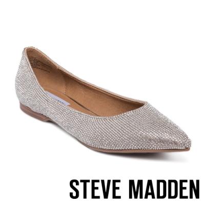 STEVE MADDEN-POLISHED-R 時尚閃鑽尖頭平底鞋-銀色