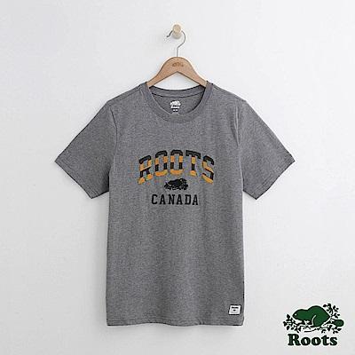 Roots 男裝-條紋字標短袖T恤-灰色