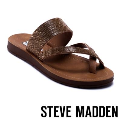 STEVE MADDEN-PAYTON-水鑽穿趾質感拖鞋-金銅色