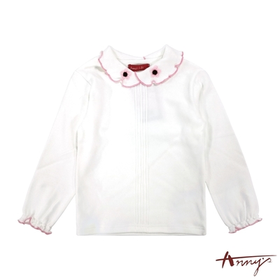 Annys安妮公主-氣質優雅花瓣邊花朵造型領秋冬款長袖上衣*8430粉紅