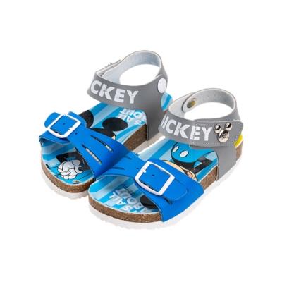 迪士尼童鞋 米奇米妮 俏皮大圖休閒涼鞋-藍