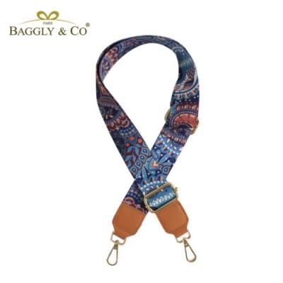 【BAGGLY&CO】圖騰印花尼龍真皮寬背帶