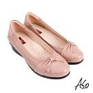 A.S.O 職場通勤 紓壓氣墊嚴選牛皮蝴蝶結奈米通勤鞋-粉紅