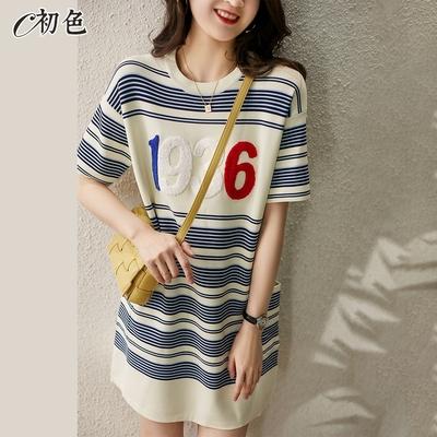 初色  撞色字母針織連身裙-藍白條-(F可選)
