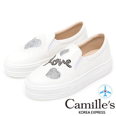 Camille's 韓國空運-正韓製-不對稱愛心閃料厚底懶人鞋-銀色