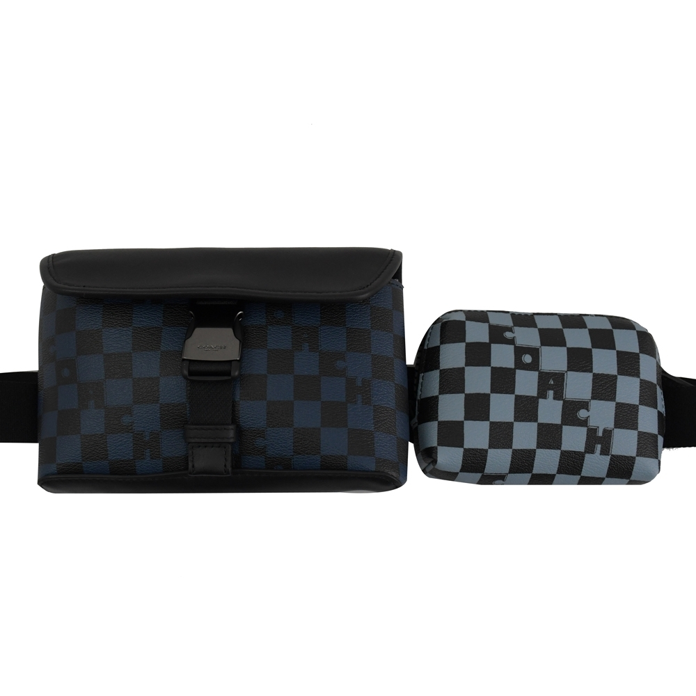 COACH 拼色格子造型拼接騎士雙腰包/胸口包(藍黑)