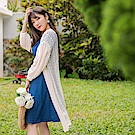 花苞拋袖蕾絲長版開襟外套/罩衫-OB大尺碼