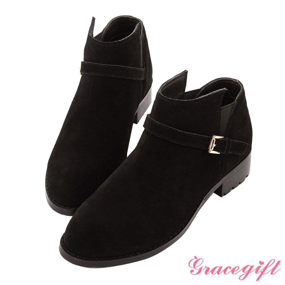 Grace gift-真麂皮側鬆緊帶釦及踝短靴 黑