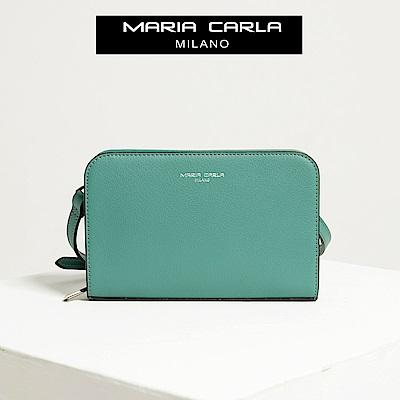 【Maria Carla】松柏綠_拉鏈式手機皮夾側背包_日光休閒_二層牛皮