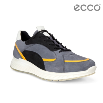 ECCO ST.1 M 舒適動能撞色皮革運動休閒鞋 男-暗藍/亮黃/白