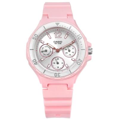 CASIO 卡西歐 迷你運動橡膠手錶-銀x粉LRW-250H-4A2 37mm