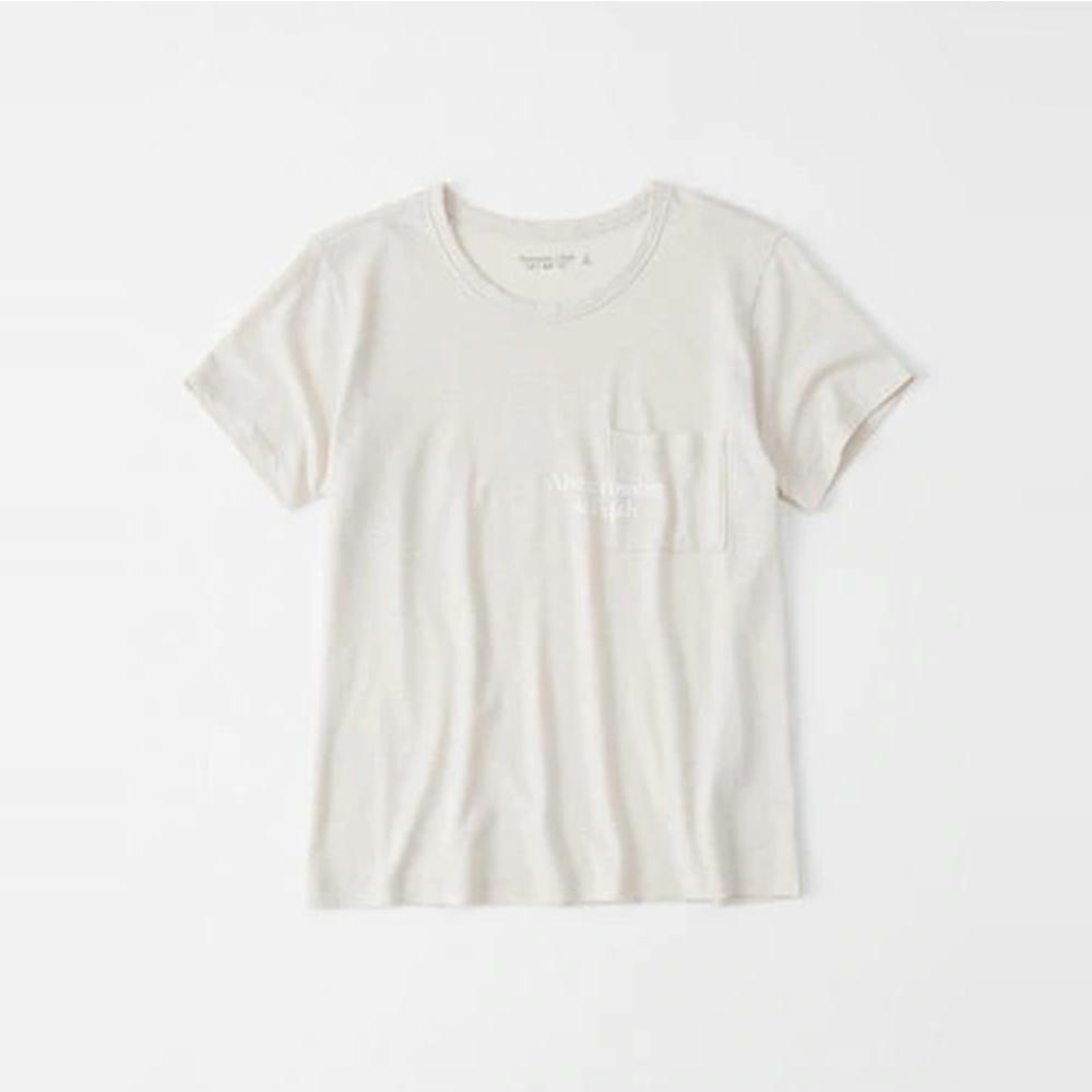 麋鹿 AF A&F 經典文字印刷口袋設計短袖T恤(女)-粉色