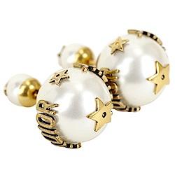 DIOR J'ADIOR「Dior Tribales」小款鍍金復古金屬白色圓珠針式耳環