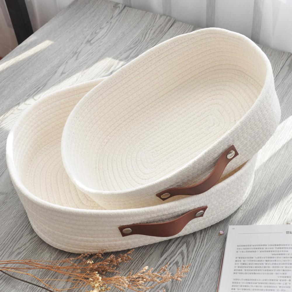 【收納職人】簡約北歐手感棉線編單側皮手把桌面裝飾置物籃/淺型收納籃(淺籃-白M)