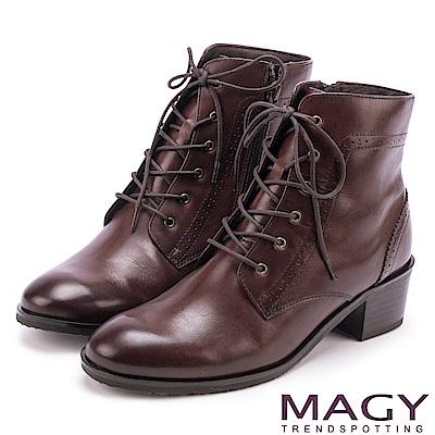 MAGY 粗曠中性帥氣 嚴選蠟感牛皮拉鍊綁帶軍靴-咖啡