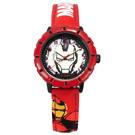 Disney 迪士尼 漫威系列鋼鐵人日本機芯兒童卡通皮革手錶-銀黑x紅/31mm
