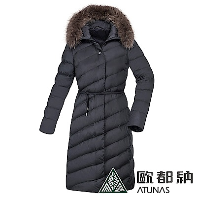 【ATUNAS 歐都納】女款時尚羽絨防風保暖長版外套A1-G1827W黑