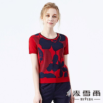 【麥雪爾】雙色變化緹花針織衫-紅