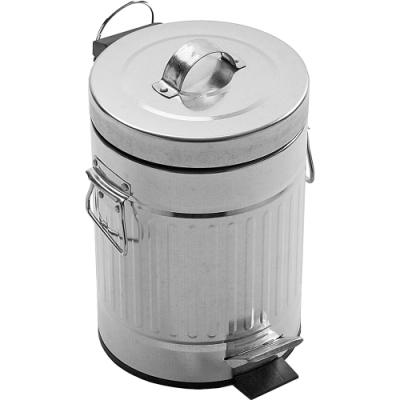 《VERSA》復古腳踏式垃圾桶(銀3L)