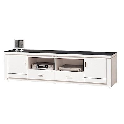 H&D 白色6尺黑玻電視櫃