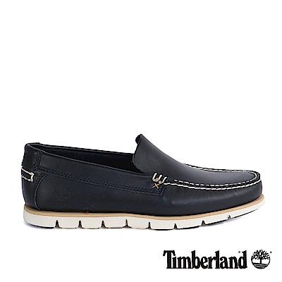 Timberland 男款海軍藍粒面皮革威尼斯鞋